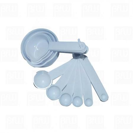 Juego de tazas y cucharas medidoras dplástico 8 piezas blancas