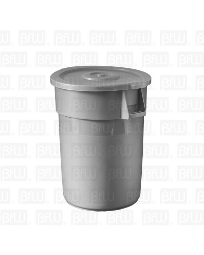 BOTE BASURA REDONDO 168LT GRIS PLASTICO